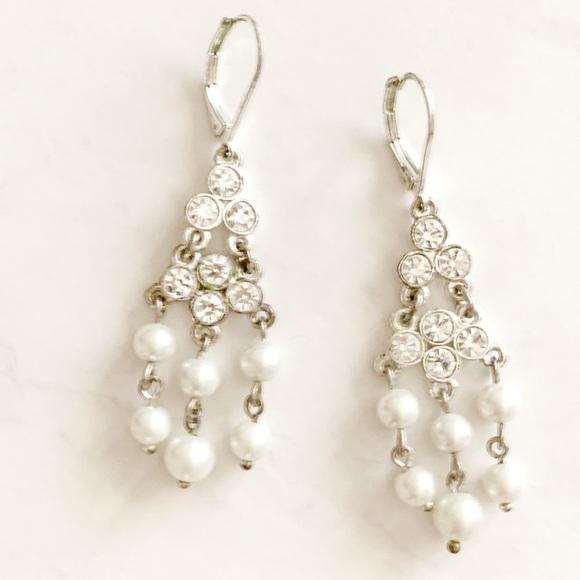 Pearl and rhinestone chandelier wedding earrings